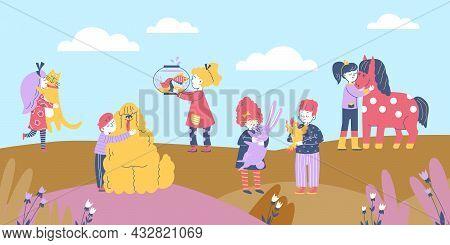 Children Walking In Park And Hugging Pets, Flat Cartoon Vector Illustration.