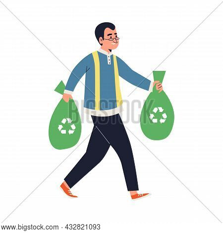Man Carries Sorted Trash For Garbage Recycling Flat Vector Illustration Isolated.