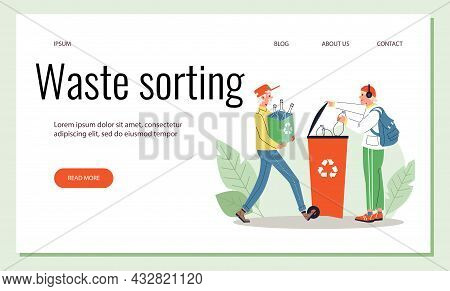 Waste Sorting Site With People Collect Litter For Reuse, Vector Illustration.
