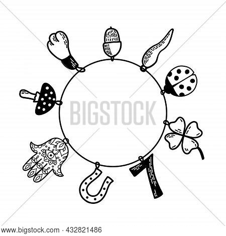 Good Luck Charms Bracelet. European And Asian Talismans And Charms Doodle Vector Illustration. Symbo
