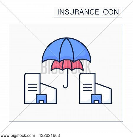 Reinsurance Color Icon. Insurance Company Purchases From Another Company To Insulate From Risk Of Ma