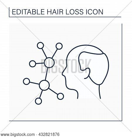 Hormones Line Icon. Hormones Provoke Hair Loss. Miniaturize Hair Follicles, Stop Growing And Fall Ou