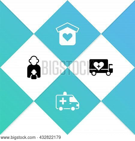 Set Taking Care Of Children, Ambulance, Shelter For Homeless And Humanitarian Truck Icon. Vector