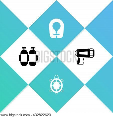 Set Aqualung, Turtle, Life Jacket And Flashlight For Diver Icon. Vector
