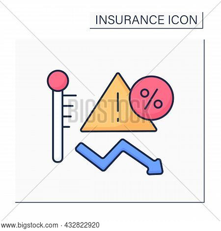 Risk Color Icon. Threat Or Peril Which Insurance Company Has Agreed To Insure Against In Policy Word