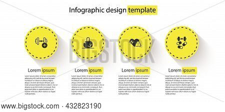 Set Dumbbell, Broken Weight, Heart Rate And Sports Doping With Dumbbell. Business Infographic Templa