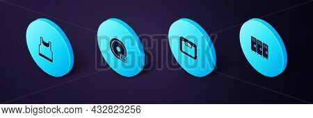 Set Isometric Locker Or Changing Room, Bathroom Scales, Weight Plate And Sleeveless T-shirt Icon. Ve