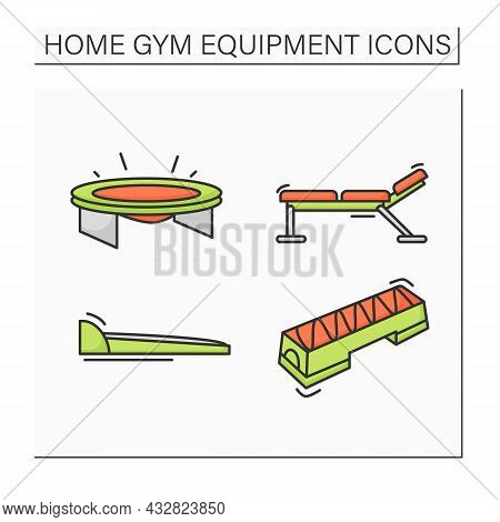 Home Gym Equipment Color Icons Set. Sport And Fitness Tools. Walking Pad, Aerobic Stepper, Barbell B