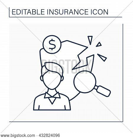 Loss Adjuster Line Icon.insurance Agent. Person Assesses Amount Of Compensation. Analysis And Diagno
