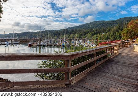 Ganges, Salt Spring Island, British Columbia, Canada - August 23, 2021: Scenic Pathway In A Park By