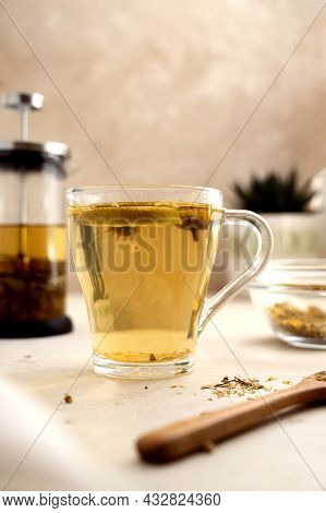 Herbal Tea Glass Cups And Teapot. Healthy Relaxing Herbal Fresh Tea With Herbs