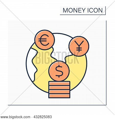 Foreign Exchange Color Icon. Global Market For Exchanging National Currencies With One Another. Mone