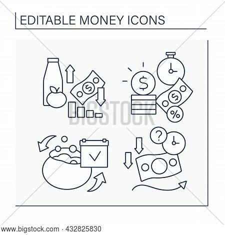 Money Line Icons Set. Inflation, Interest, Petty Cash, Soft Currency. Business Concept. Isolated Vec