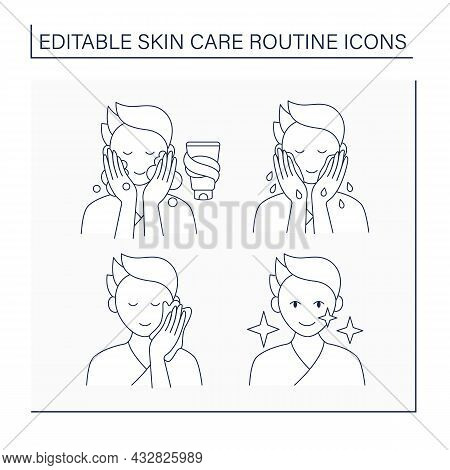Skin Care Routine Line Icons Set. Man Doing Beauty Procedure For Soft Face Skin. Washing, Cleansing,
