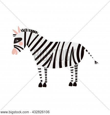 Cute Zebra In Simple Hand Drawn Style. Zebra Isolated On A White Background. Vector Illustration For
