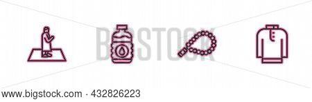 Set Line Muslim Man Prays, Rosary Beads Religion, Bottle Of Water And Shirt Kurta Icon. Vector