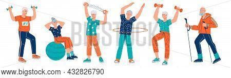 Elderly Senior Men And Women Doing Sport Exercises. Sport And Healthy Leisure Activity For Elderly P