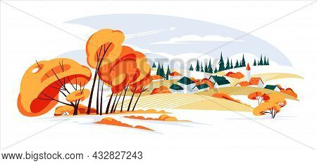 Panorama Landscapes Of Countryside In Autumn, Mid Autumn Panorama With Farm Fields, Hills, Catholic