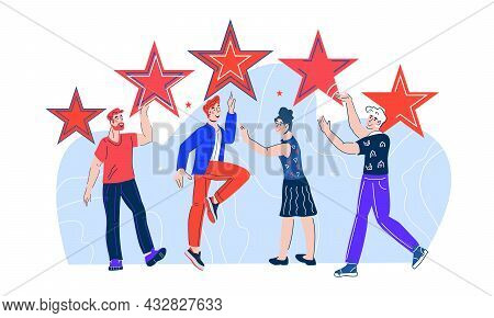 Customer Review And Users Satisfaction Rating. People Give Five Stars Review Rating And Feedback. Cl