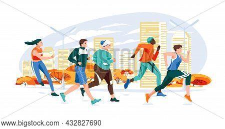 Marathon Racing Group - Flat Cartoon Modern Vector Illustration Of Running Men And Women In Autumn C