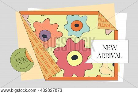 Folded Paper Trendy Design Template. Comic Style Poster Layout With Place For Text, Stickers, And Pl