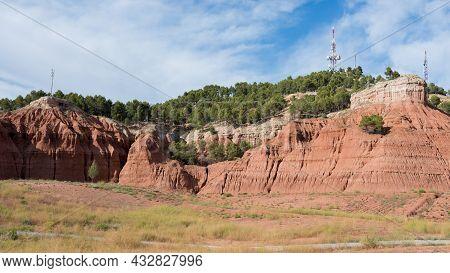 Clay Landscape Surrounding Teruel. No People, Sunny Day. Teruel City, Aragon, Spain