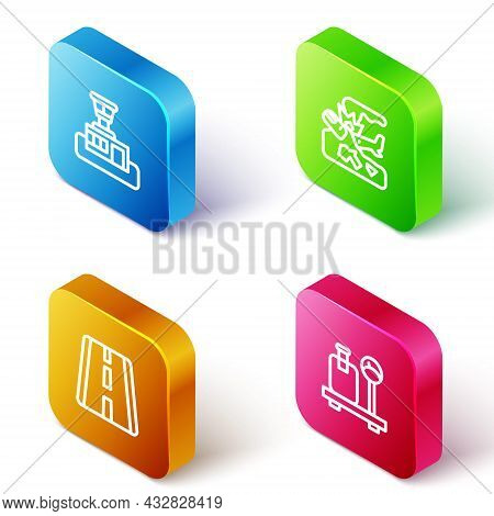 Set Isometric Line Airport Control Tower, Plane Crash, Runway And Scale With Suitcase Icon. Vector