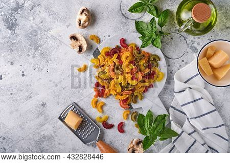 Pasta. Italian Pasta. Insalata Di Pasta And Vegetables Cooking Ingredients, Cheese, Mushrooms And Ba