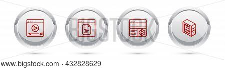 Set Line Online Play Video, Software, Debugging And Computer. Silver Circle Button. Vector