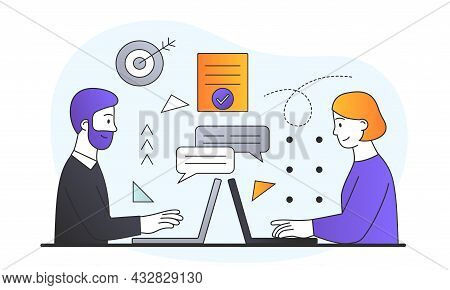 Man And Woman In Office. Funny Stick Figures. Business Correspondence, Laptop And Remote Work. Custo