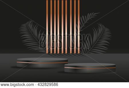Luxury Black And Bronze. Pedestal For Advertising And Selling Goods. Beautiful Wallpaper For Phone A