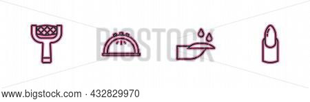 Set Line Nail File, Manicure, Manicure Lamp And Icon. Vector