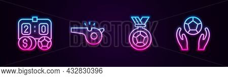Set Line Football Betting Money, Whistle, Or Soccer Medal And Soccer Football. Glowing Neon Icon. Ve