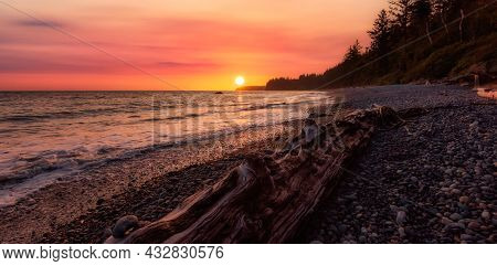 Sandcut Beach On The West Coast Of Pacific Ocean. Sunny Sunset Art Render. Canadian Nature Landscape