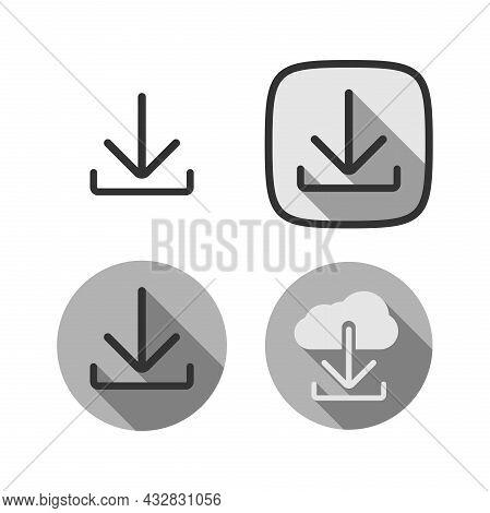 Set Of Download Symbols Or Icons, Vector Illustration