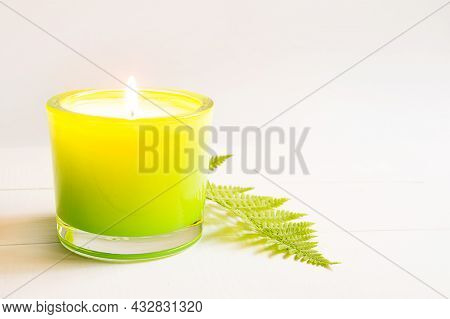 The Flame Of Fire Burns On Green Scented Candle With Fern And Natural Fragrance On A White Backgroun