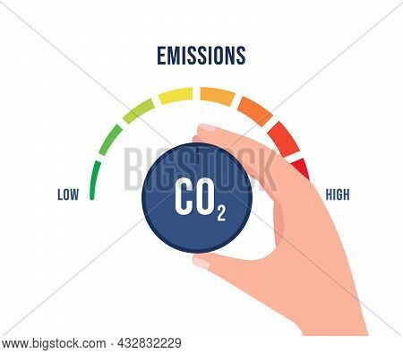 Reduction Low Co2 Emissions To Limit Global Warming, Climate Change, Safety Ecology. Reduce Levels O