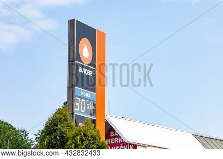 Ostrava, Czech Republic - July 22, 2021: The Banner Of Eurobit Petrol Station With Very Cheap Diesel