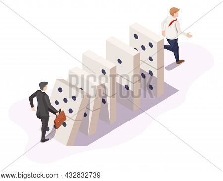Domino Effect Or Chain Reaction In Business, Vector Isometric Illustration. Falling Dominoes. Busine