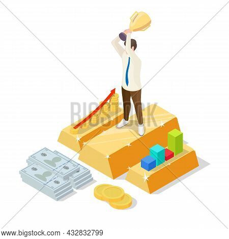 Successful Businessman On Gold Ingot With Trophy Cup, Vector Isometric Illustration. Business Succes