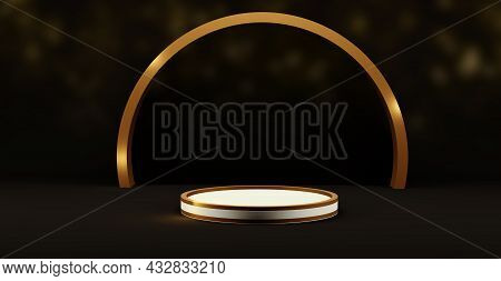 Pedestal For Mockup Templates With Copy Space Gold And Black  Dark Lacquered Pedestal Product Exhibi