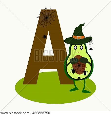 Alphabet, Letter A. In The Style Of Halloween And Cartoon. Word On A Avacado With Cobweb, Spider. Le