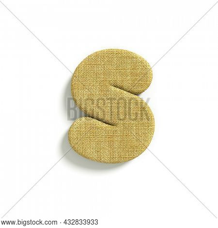 hessian letter S - Lower-case 3d jute font isolated on white background. This alphabet is perfect for creative illustrations related but not limited to fabric, design, decoration...