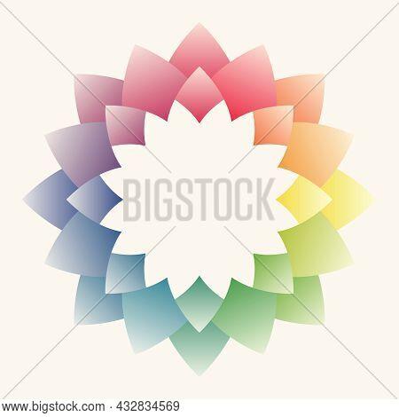 Colorful Flower Petal Frame. Mandala Shape Pattern. Pastel Color Tones. Leave Blank Background For T