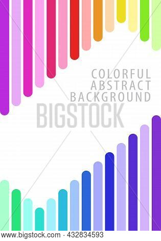 Colorful Abstract Background Pattern. Square Bars, Rounded Ends, Vertical, Rainbow Gradient. Templat