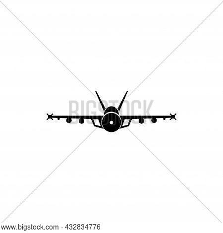 Jet Fighter, Supersonic Plane Flight. Flat Vector Icon Illustration. Simple Black Symbol On White Ba