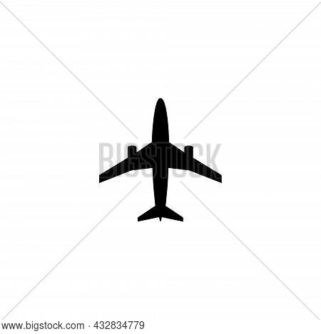 Airplane, Reactive Plane, Aircraft Liner. Flat Vector Icon Illustration. Simple Black Symbol On Whit