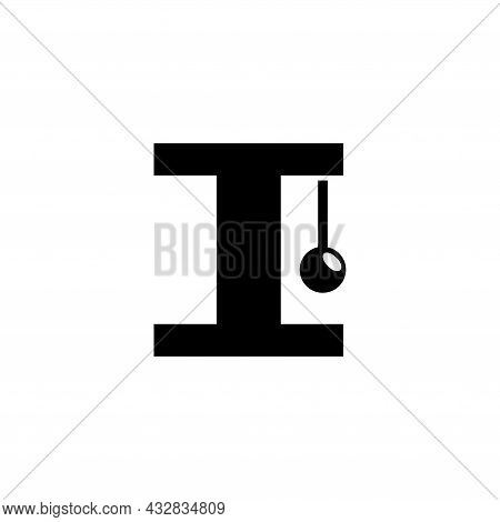 Toy For Cat, Ball On A Rope For Kitty. Flat Vector Icon Illustration. Simple Black Symbol On White B