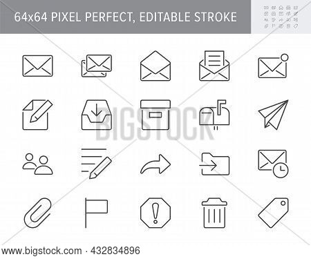 Mail Line Icons. Vector Illustration Include Icon - Postbox, Label, Letter, Email, Envelope, Spam, D