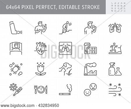 Asthma Line Icons. Vector Illustration Include Icon - Inhaler, Cough, Pollen, Dust, Lung, Flu, Xray,